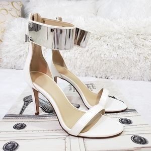 ZARA White Ankle Stappy Heel Sandal
